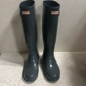 Hunter gray rain boots